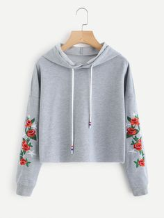Drop Shoulder Rose Embroidered Sleeve Hoodie