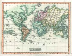 World Map 1808. Antique Map of the World on Mercator's Projection - MAP PRINT