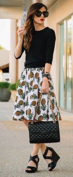 2017 SPRING & SUMMER FASHION TRENDS! Ask your Stitch Fix stylist for items like this when you sign up today by clicking on the pic & filling out your style profile. Only $20 to have your own stylist! #affiliate #stitchfix black 3/4 length sleeve sweater tucked into pineapple a-line fit to flare skirt.