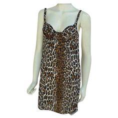 Wild Leopard Print Mini Nightgown Built Bra Extra Small Valentine's Day Gift