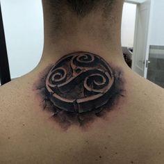 Gentleman With Stone Spiral Symbol Upper Back Tattoo