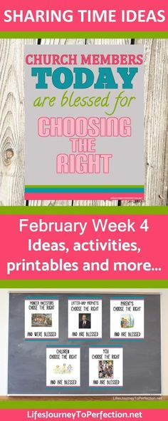 SHARING TIME IDEAS FOR WEEK 4 IN FEBRUARY FOR LDS PRIMARY ABOUT HOW CHURCH MEMBERS TODAY ARE BLESSED FOR CHOOSING THE RIGHT