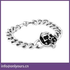 China Wholesale Stainless Steel Skull Bracelet For Men
