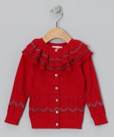 Burgundy Holiday Rose Ruffle Cardigan - Toddler & Girls