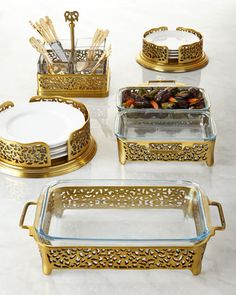 """GODINGER SILVER ART CO Gold-Tone Pierced Serveware - Holders made of pierced aluminum with gold-tone plating. Bakers have dishwasher- and oven-safe glass liners. Glass liners in flatware caddy are dishwasher safe. Each section measures 4.25""""Sq. x 4""""T; holds 20–30 pieces of flatware. Three-quart baker, 18""""L x 9.25""""W x 4""""T. Two-quart double baker, 18.5""""L x 11.5""""W x 3.75""""T. Dinner plate holder, 13.25""""Dia. x 4.25""""T. Salad plate holder, 11.5""""Dia. x 3.75""""T. Flatware caddy, 9.5""""Sq. x 5""""T. Imported."""