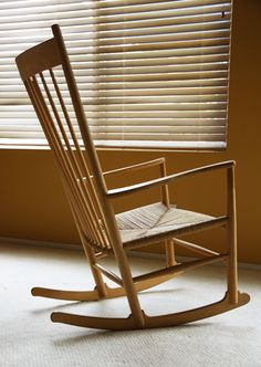 Hans Wegner J16 rocking chair. Traditional techniques and sculptural features characteristic of his timeless design.