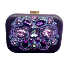 PURPLE REIGN #leather box #purse with #soutache by #BlackMarketJewels #embroidery #sutasz with #Swarovski stones #purple and #turquoise