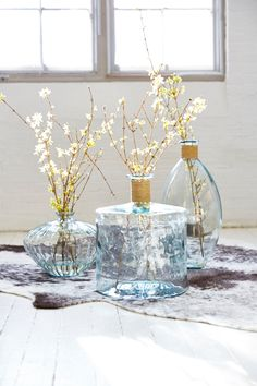 Beautiful on its own or as a collection, the iridescence and subtle imperfections of recycled glass makes it a stately accent.