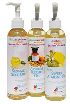 24 Ounces 3pack of 8oz Bottles Sesame Oil Sweet Almond  Apricot Kernel Anti Aging  Massage Oils by Touch of Amour ** Be sure to check out this awesome product. Note:It is Affiliate Link to Amazon.