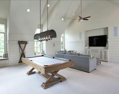 Basement Ideas. Basement Design with family room and games room. Pool table is a Brunswick Brixton pool table. #Basement #BasementIdeas #BasementDesign