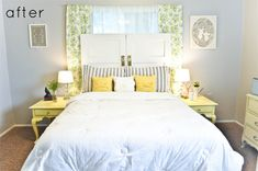 Love the butter yellow side tables (of course). And the pillows, uh hello, amazing sewing skills! The door headboard is pretty freakin creative too.