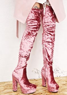Elle Thigh-High Boots cuz nothin' stands in your way, babe~ These ultra hott thigh-high boots feature a plush pink crushed velvet construction, sleek 'N stretchy pull-on style, block heel, platform sole, and inner ankle zip closures.