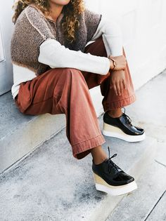 Pave Menswear Platform | Eye-catching platform shoes featuring a menswear-inspired look with an ultra cool, modern feel. Lace-up top and rubber sole. Padded footbed for a comfortable step.