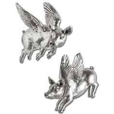 Hogbadi III (Set Of - Mercana 44203 Set of 2 resin flying pigs with an antique pewter look that hang on the wall with adjustable metal mounts. Yes pigs do fly! 44203 Features: Syle: Farmhouse,Mercana ModernSize: x x Weight: StudioCountry of Origin: China Resin Sculpture, Wall Sculptures, Lion Sculpture, Elephant Home Decor, Wall Decor Set, Metal Stars, Flying Pig, Antique Pewter, Statue