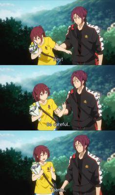 He's a sweet heart to his sister Anime Siblings, Anime Couples, Rin Matsuoka, Makoto, Sibling Relationships, Splash Free, Free Eternal Summer, Free Iwatobi Swim Club, Kyoto Animation
