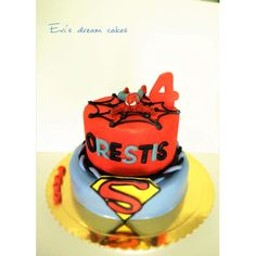 superman spider man cake