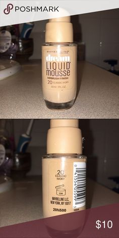 Flawless Liquid Foundation Dream Liquid Mousse Airbrush Finish Foundation by Maybelline (Shade: 20 Classic Ivory) looks perfect and natural on your skin. I love it so much, the only reason why I'm selling it is because it's too dark for my skin tone. *Bottle is still completely full!* I'm open to offers! Sephora Makeup Foundation