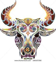 Head of a bull. looks like a bull and owl combined get different colors red and brown Taurus Bull Tattoos, Bull Skull Tattoos, Bull Skulls, Cow Skull, Skull Art, Body Art Tattoos, Sleeve Tattoos, Cool Tattoos, Sheep Skull