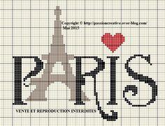 Grille gratuite point de croix : Paris Tour Eiffel Coeur - Le blog de Isabelle