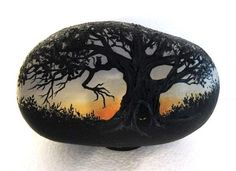 find this pin and more on rocks in my head handpainted rock spooky halloween scene