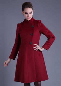 CHRISTMAS GIFT THE  WOOL COAT   RED  LONG COAT WINTER COAT WOMAN COAT  LONG COAT WINTER COAT Q2