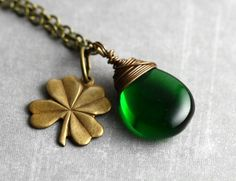Lucky shamrock necklace with emerald green glass for St. Patricks Day.