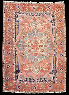 Coral and Navy Rug
