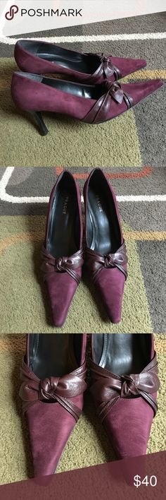 "Prague shoes Plum color  made in Brazil suede leather upper man-made solekitten heel measures approx 3"" Prague Shoes Heels"
