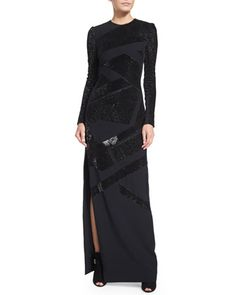 Long-Sleeve Patchwork-Sequin Gown, Navy by Mugler at Neiman Marcus.