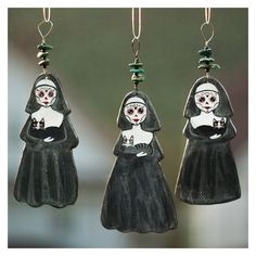 Day of the Dead Nuns and Cats Clay Folk Art Ornament ❤ liked on Polyvore featuring home, home decor, holiday decorations, turquoise home decor, turquoise ornaments, clay ornaments, cat home decor and handmade clay ornaments