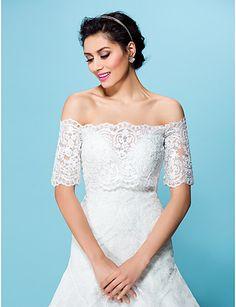 결혼식 코트 / 저녁 재킷은 흰색 얇은 명주 그물 랩 / 베이지 색 볼레로 어깨를 으쓱 – KRW ₩ 83,597