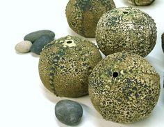 Textured Green Sea Urchin Pot Sculpture Beach by blueroompottery