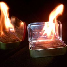 Make emergency light sources simply with an altoids tin, cardboard, and some wax. Fold and pack the cardboard into the tin, melt some wax over the top and close the lid until needed.