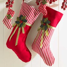 Christmas Stockings #Christmas Décor #Holiday!!! Bebe'!!! Traditional red and white flannel stockings!!! Festive!!!
