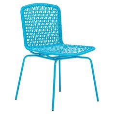 Weather-resistant and UV-protected side chair in aqua with a woven design.   Product: ChairConstruction Material: