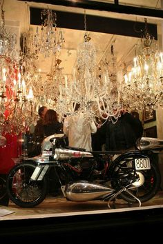 Bonneville record breaking Brough Superior among the crystal chandeliers Crystal Chandeliers, Night King, Ceiling Lights, Crystals, Classic, Derby, Crystal, Classic Books, Outdoor Ceiling Lights