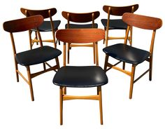 Vintage Danish Modern Teak Chairs - Set of 6 | Chairish $1685 Teak Chairs - Set of 6 Price: $1,620 Was: $1,800 MAKE AN OFFERBUY ME NOW Dimensions 18.5ʺW × 16.0ʺD × 29.5ʺH Condition Excellent Style Danish Modern, Scandinavian Maker Hans Wegner Description A remarkable set of six, vintage, Scandinavian, modern chairs that are similar to the famous CH 30 of Hans Wegner. These feature teak for the backrests and beech wood for the chair frames. The back vinyl seats are all original and in exc