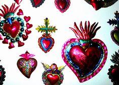sacred heart, mexican art, tin