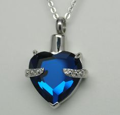 SAPPHIRE BLUE HEART CREMATION URN NECKLACE CREMATION JEWELRY ROLO CHAIN