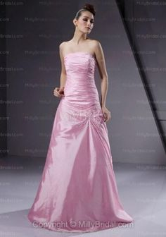 A-line, Strapless , Floor-length ,Formal Dress