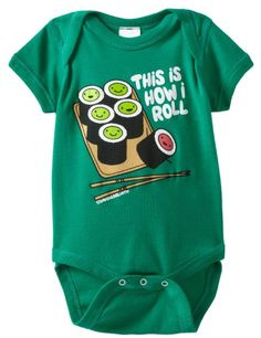 Many of us Geek types love sushi! Particularly out on the west coast (you know who you are). So show your love of the finer things with this cute tribute to sushi for your little geek. David & Goliath Baby-Boys Infant This is How I Roll Onesie, Kelly, Small