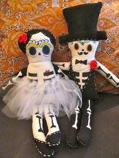 Day of the Dead custom doll couple.
