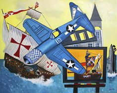 Malcolm Morley - Recent Paintings 16 May - 15 June 2013 Artwork: Malcolm Morley, Corsair and Santa Maria, 2011 Oil paint on linen, × cm Gary Hume, Painting Techniques, Modern Art, Santa Maria, Drawings, Artwork, Pictures, 15 June, Paintings
