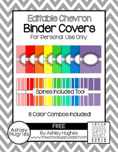 Binder covers for color coding. Free and editable.