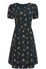 Longer Length Swallow Bird Skater Dress