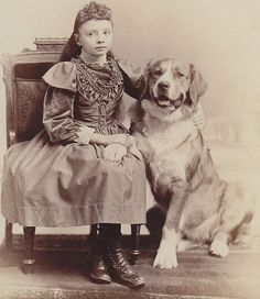 Frank Pearsall 1870s cab card portrait Girl Holds Hands with Dog