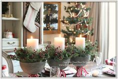 Christmas Table Center Piece-French Farmhouse Vintage Christmas Dining Room- From My Front Porch To Yours