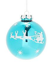 Winter Charms Santa Sleigh Profile Ball Ornament