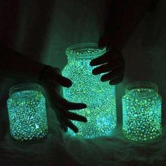 So cool.   Take a mason jar and paint the inside with glow-in-the-dark glitter paint, then sit upside down on paper towel to dry.