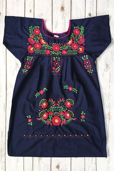 Mexican Dress in Navy Short Length